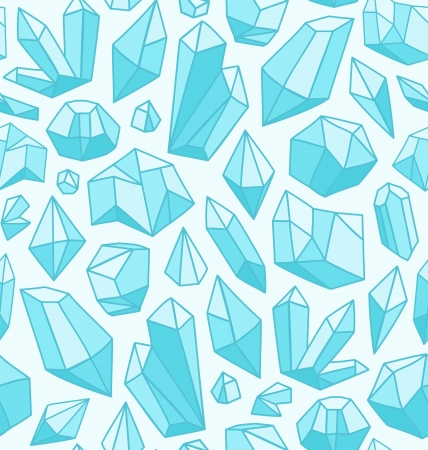 Seamless vector pattern with various crystals shapes