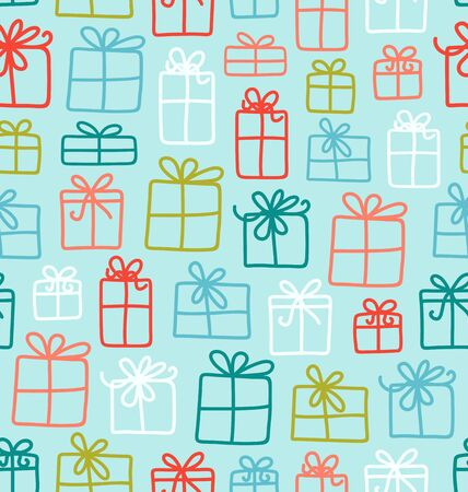 Seamless vector pattern with various gift boxes Vector