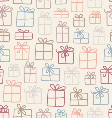 Seamless vector pattern with various gift boxes