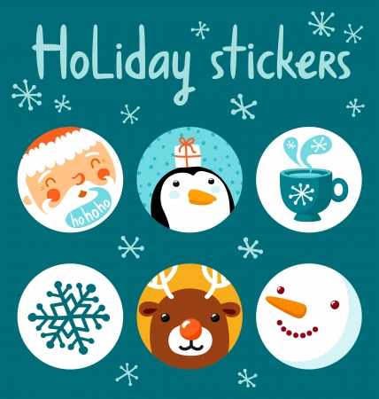 Holiday stickers set Vector