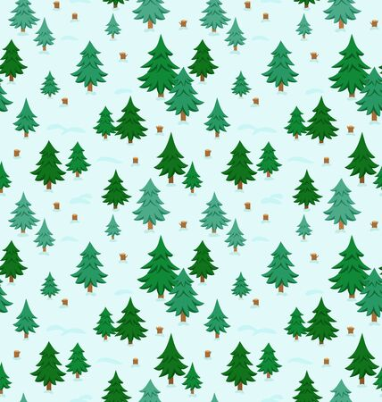 christmas trees: Winter forest seamless pattern