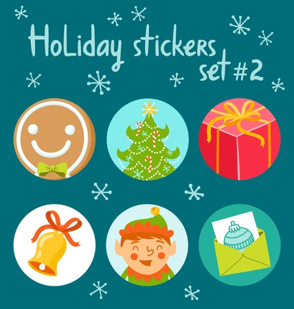 Set of 6 winter holidays symbols illustration Vector