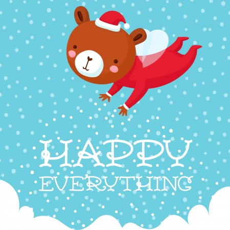 Happy everything holiday card with cute flying magic bear, vector illustration.