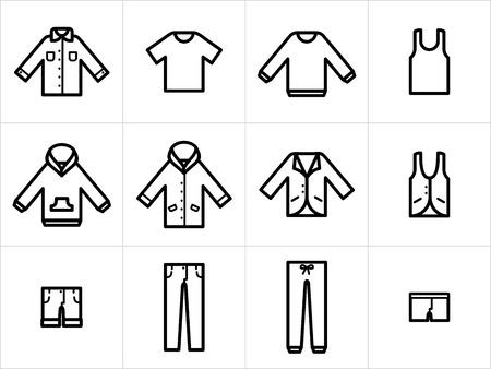 Set van 12 mannen en unisex kleding iconen in zwart en wit. Gemakkelijk te bewerken, resize en inkleuren.
