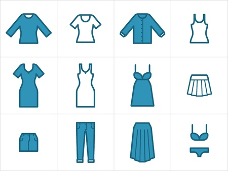 Set of 12 women clothing icons. Easy to edit, resize and colorize.