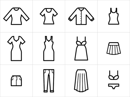 Set of 12 women clothing icons in black and white. Easy to edit, resize and colorize.