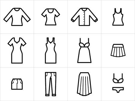 Set van 12 vrouwen kleding iconen in zwart en wit. Gemakkelijk te bewerken, resize en inkleuren.