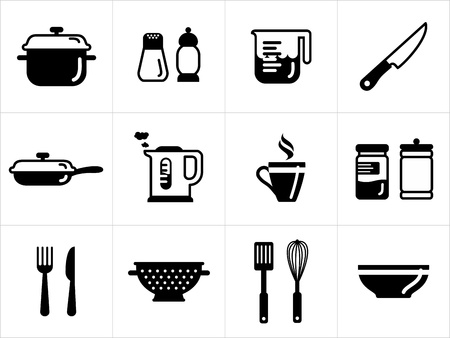 Kitchen icons in black and white Stock Vector - 17117059