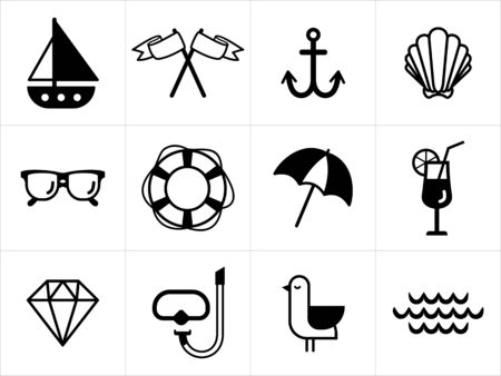 beach umbrella: Summer sea icons in black and white