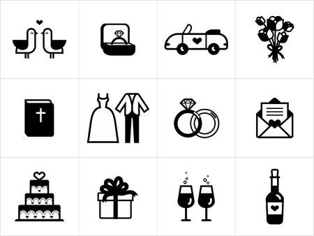 anillos de boda: Iconos de la boda en blanco y negro Vectores