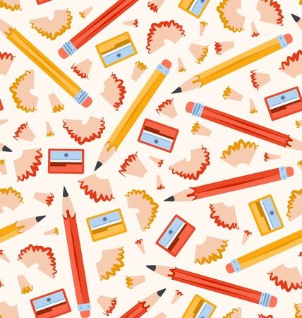 sacapuntas: Lápices sin patrón Vectores