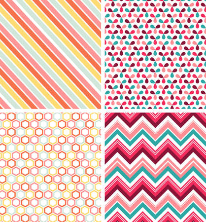 Set of 4 seamless abstract patterns in swatches