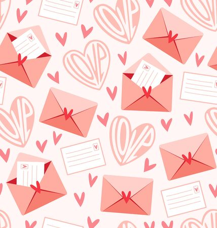 love letters: Valentines seamless pattern with hearts and love letters Illustration