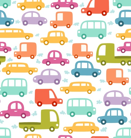 Cartoon cars seamless pattern