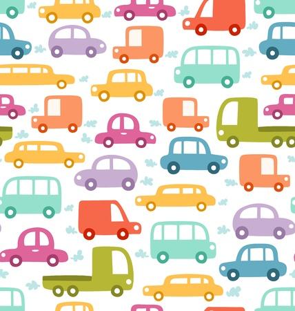 car pattern: Cartoon cars seamless pattern