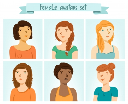 Set of 6 female characters avatars