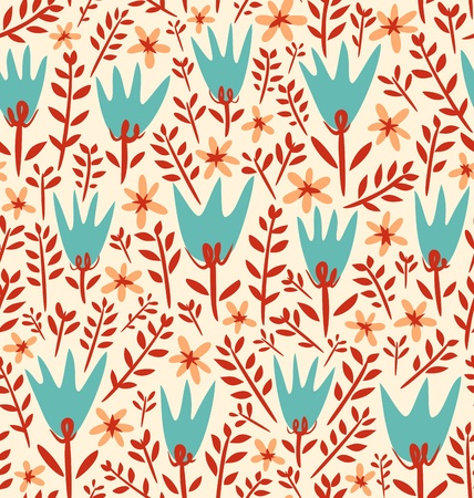 Seamless pattern with various summer flowers and leaves scalable and editable Vector