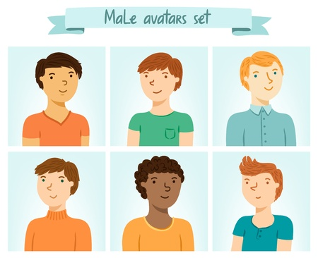 Set of 6 male characters avatars