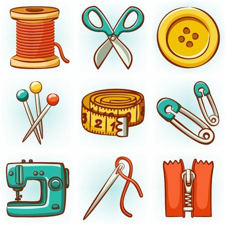 maquinas de coser: Conjunto de 9 iconos de herramientas de costura Vectores