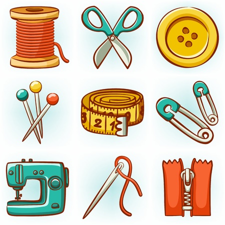 needle cushion: Set of 9 sewing tools icons Illustration