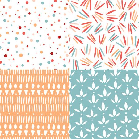 seamless pattern: Set of 4 doodle abstract seamless patterns