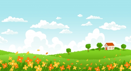 sunlight sky: Sunny day seamless landscape with house on a hill and flower field.