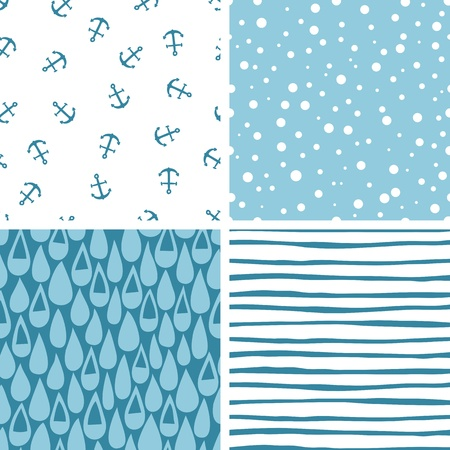 Set of 4 doodle abstract seamless patterns in swatches.