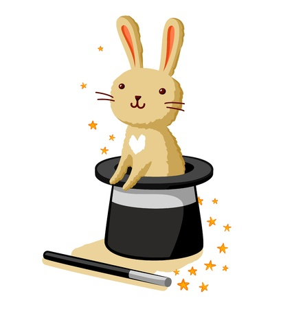 Cute bunny rabbit in a magic hat Illustration