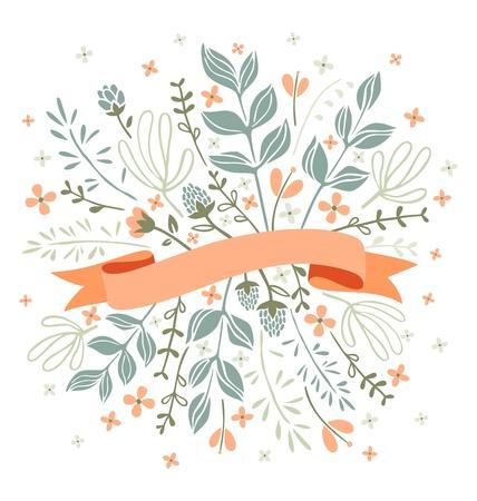 Bloemen en bladeren met lint voor tekst Stock Illustratie