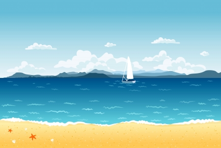 sea shells on beach: Summer blue sea landscape with sailing boat and mountains on the horizon.