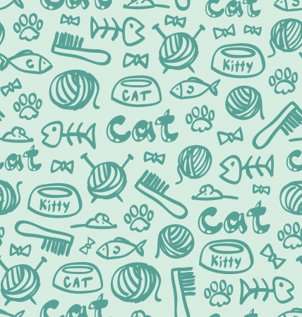 Cat stuff seamless pattern Vector
