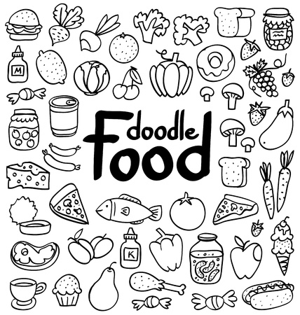 Doodle food set of 50 various products, fruits, vegetables and much more. Vector