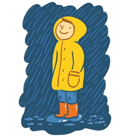 Smiling kid in raincoat stands in the rain Stock Vector - 19089162