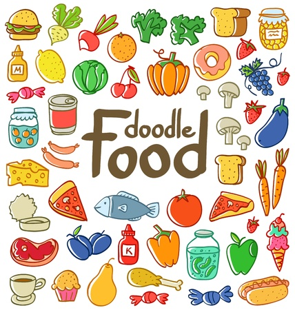 Colored doodle food set of 50 various products, fruits, vegetables and much more. Vector
