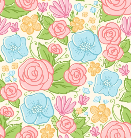 Roses and violets seamless pattern Vector