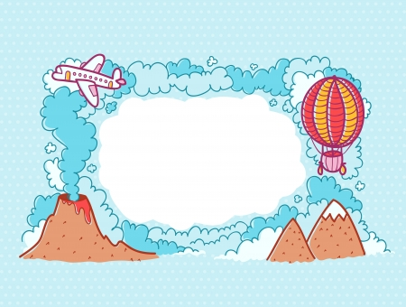 Card with cartoon clouds, balloon, plane, mountains and place for text Vector