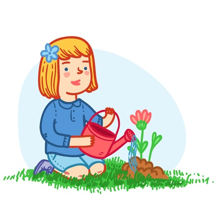 Little girl planting flowers Vector