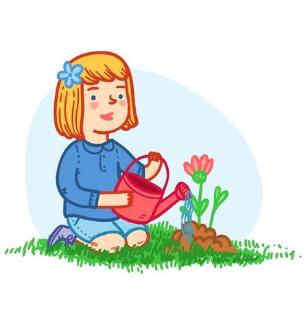 Little girl planting flowers Vector