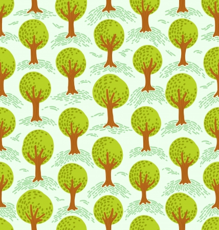 vernal: Cartoon decorative style trees seamless pattern Illustration