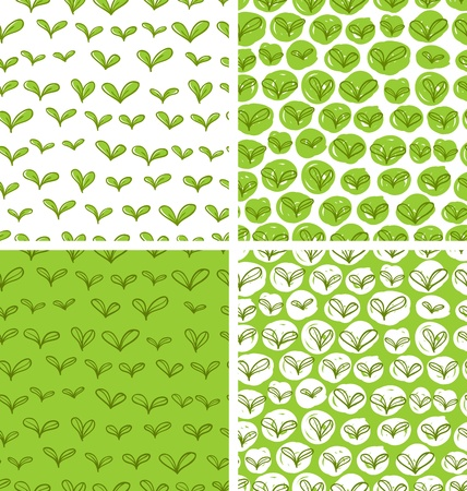 vernal: Set of 4 seamless patterns in swatches with fresh green doodle leaves Illustration