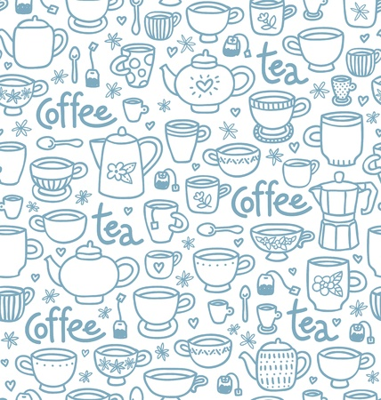 teabag: Seamless pattern with lots of cups and pots for with tea and coffee Illustration