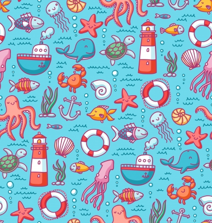 Seamless pattern with sea creatures doodles and nautical stuff