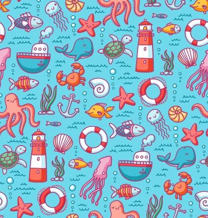 Naadloze patroon met zeedieren doodles en nautische spullen