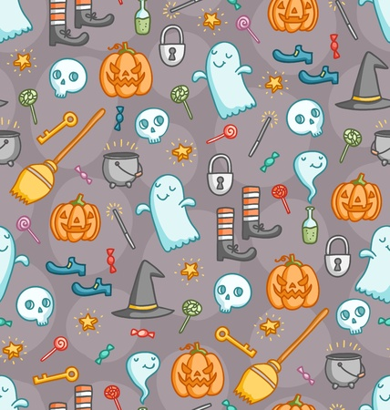 Halloween doodle seamless pattern with bunch of creepy sweet symbols in color Stock Vector - 20892429