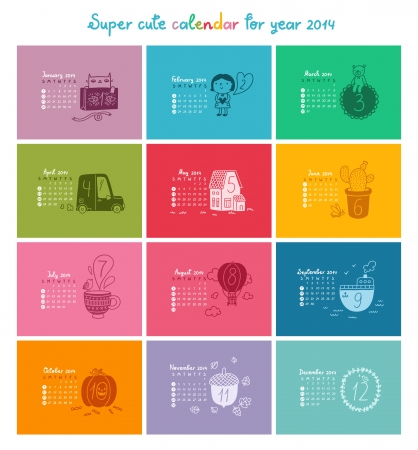 Cute doodle calendar for 2014. Week starts from Sunday Vector