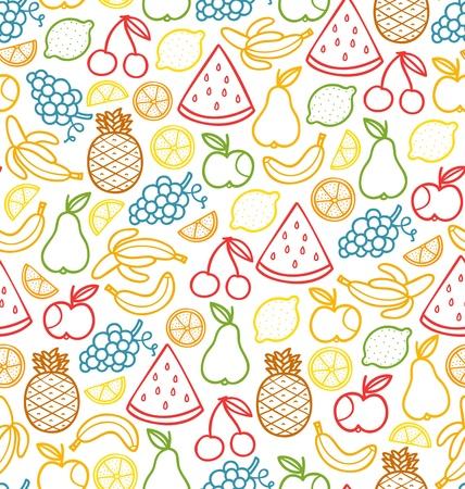 limon caricatura: Patr�n sin fisuras con frutas jugosas garabato