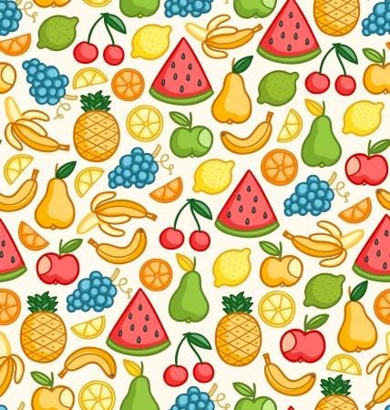 색상 낙서 분이 많은 과일과 원활한 패턴