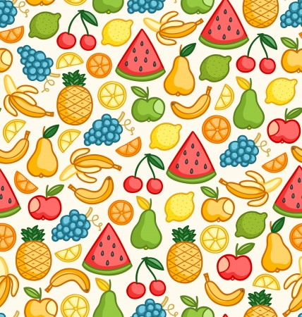Seamless pattern with doodle juicy fruits in color Illustration