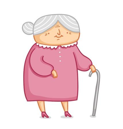 pensioen: Schattige kleine oma vectorillustratie Stock Illustratie