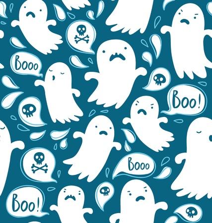 Patr?n Seamless Halloween con varios fantasmas espeluznantes Ilustración de vector